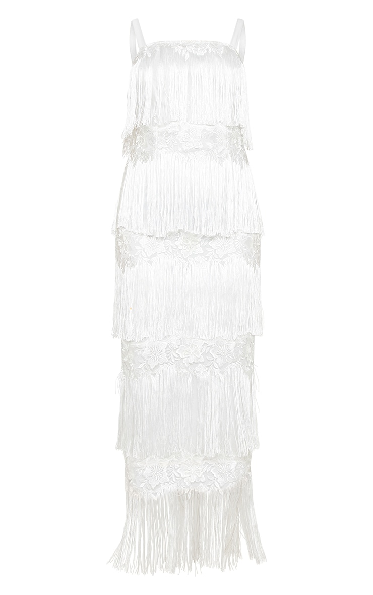 White Tassel Applique Detail Midaxi Dress 3
