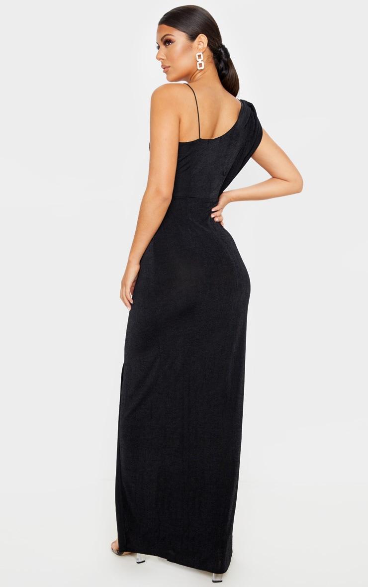 Black Textured Slinky Asymmetric Drape Maxi Dress 2