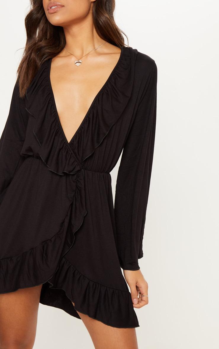 bd7c20b302d Black Jersey Frill Detail Flare Sleeve Wrap Dress image 5