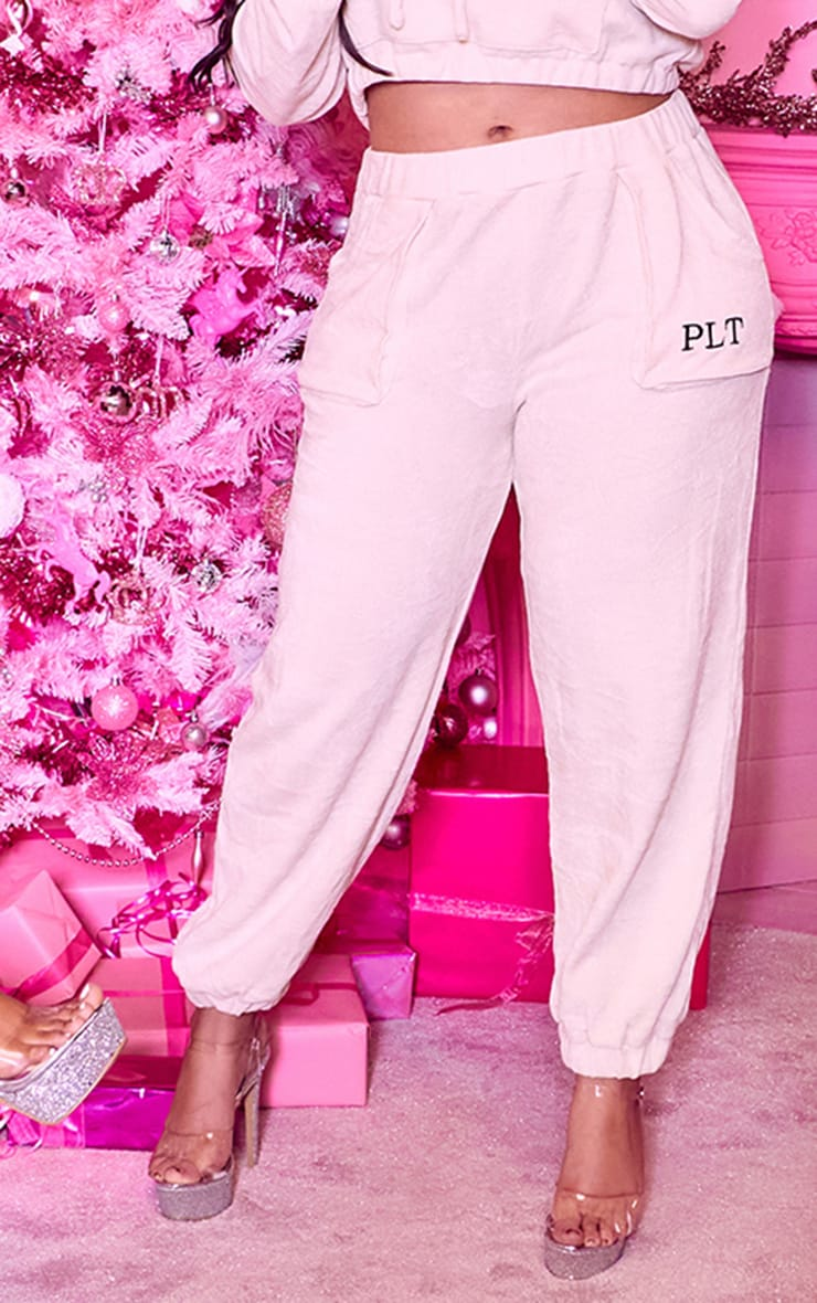 PRETTYLITTLETHING Plus Cream Rib Velour Joggers 2