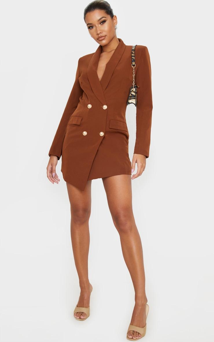 Robe blazer marron chocolat à boutons dorés 4