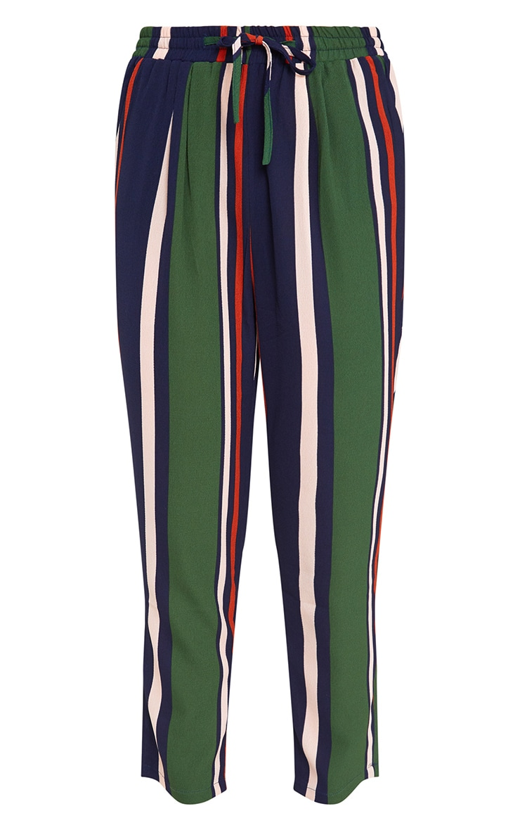 Navy Stripe Casual Trousers 3