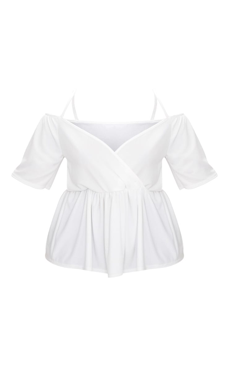 Plus White Cold Shoulder Frill Hem Top 3