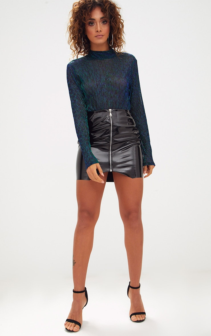 Green Sheer Metallic Longsleeve Thong Bodysuit 5