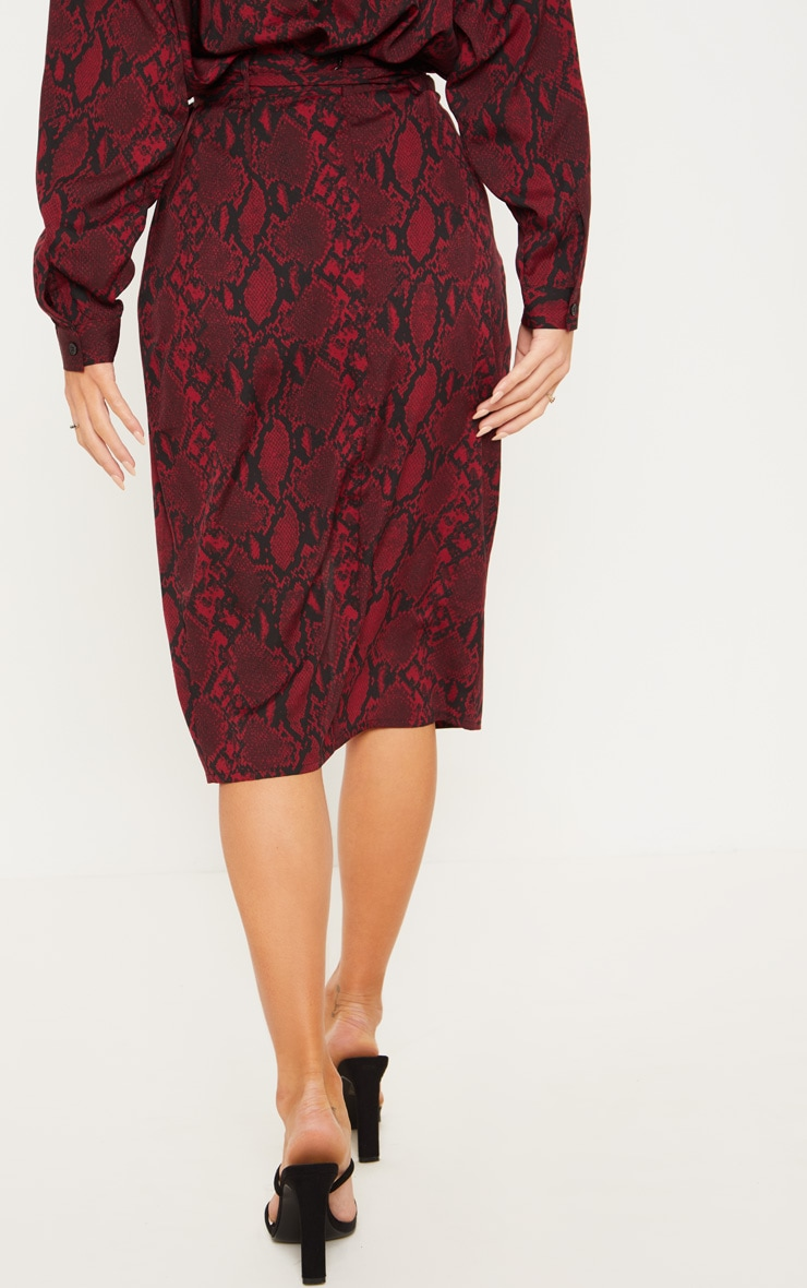 Burgundy Snake Print Belted Wrap Midi Skirt  4
