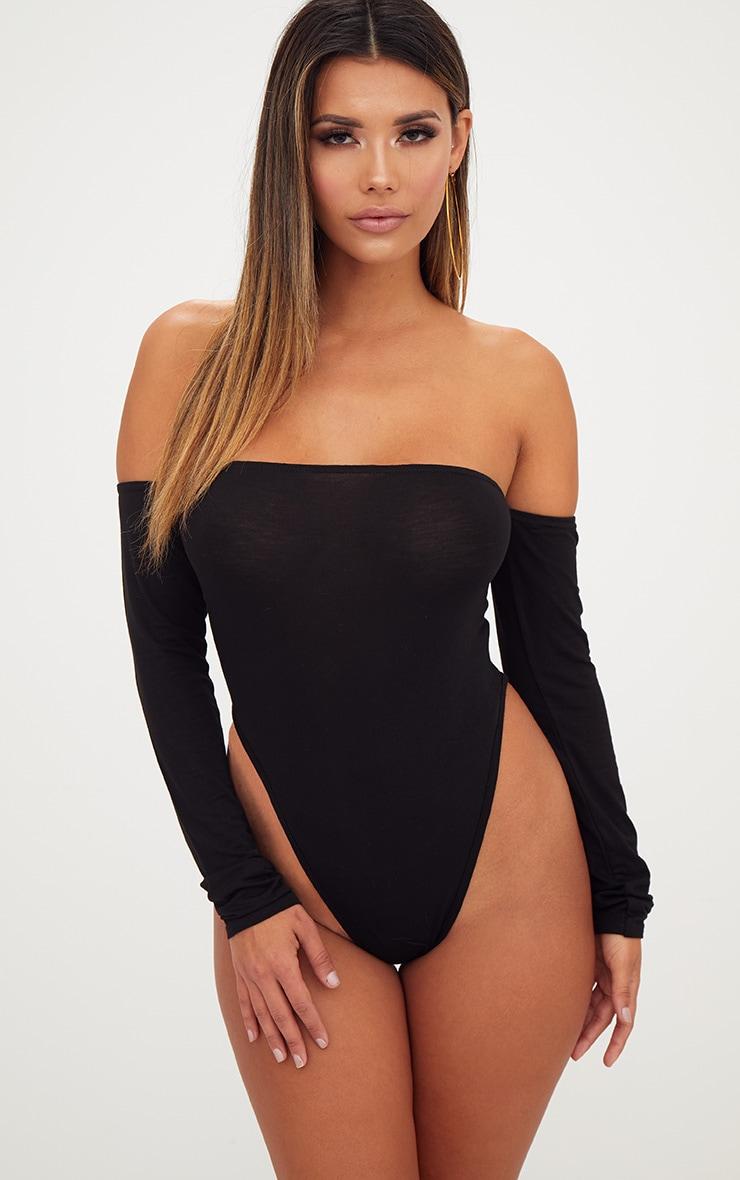 Black Bardot High Leg Longsleeve Thong Bodysuit 2