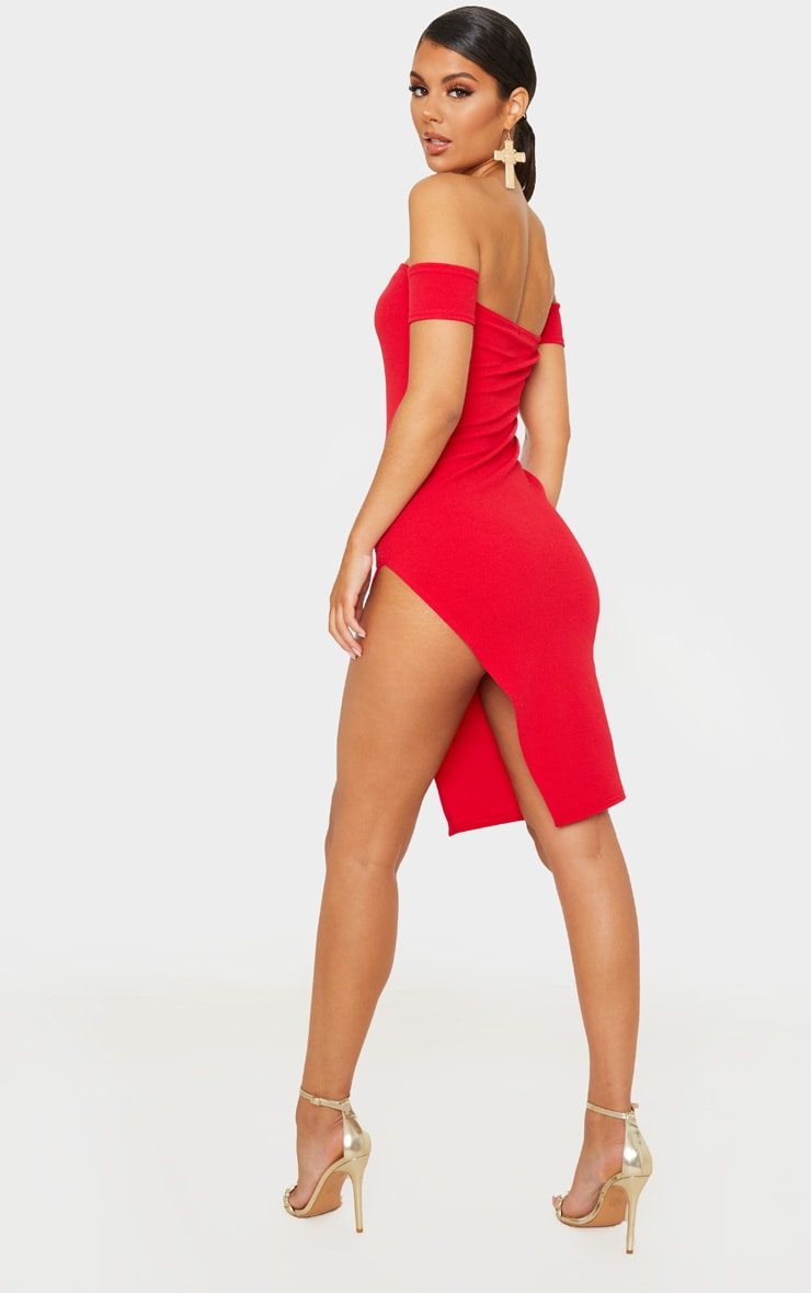 Red Cuff Detail Side Split Midi Dress 2