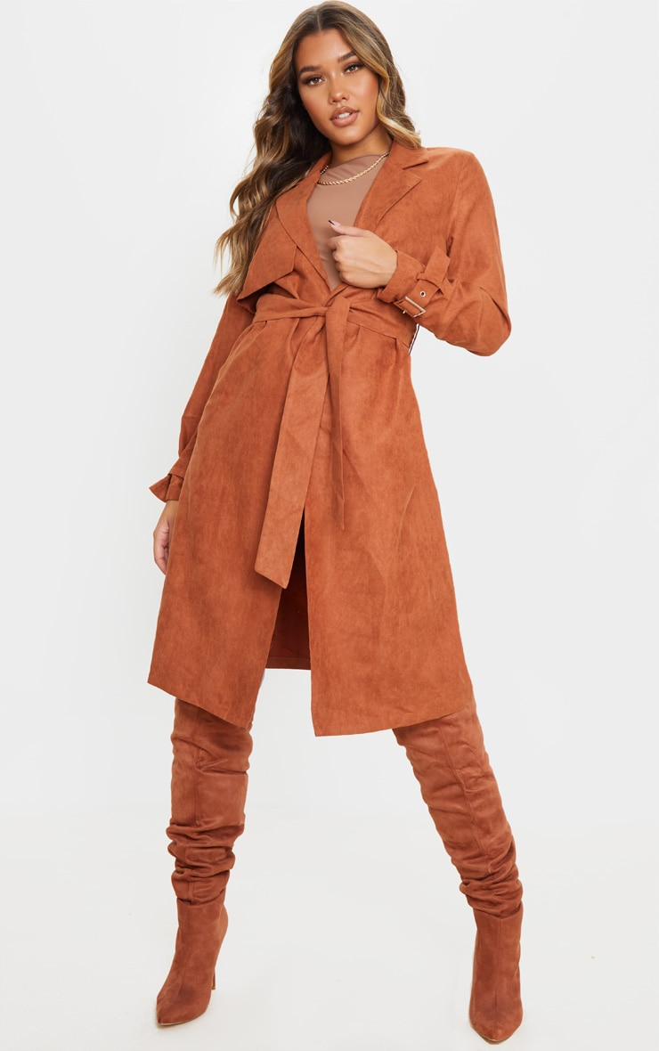 Brown Faux Suede Trench 1