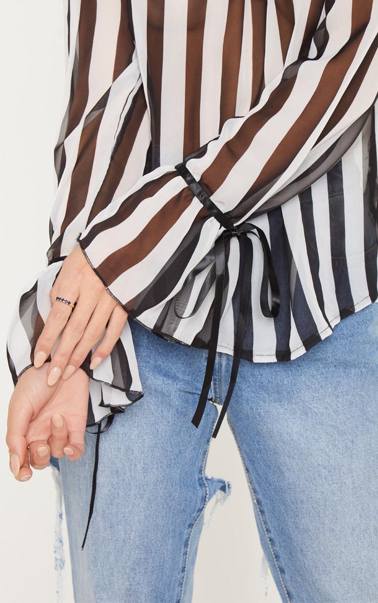 Mono Stripe Chiffon High Neck Blouse 5