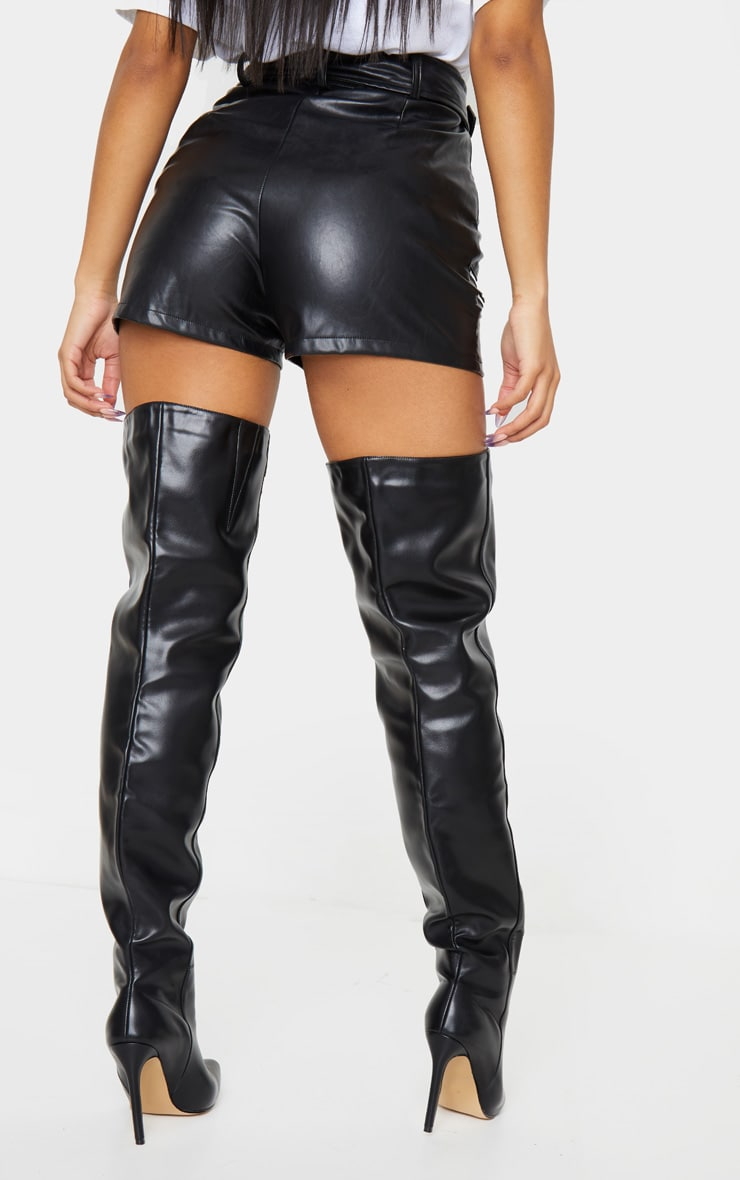 Black Faux Leather Biker Short 3