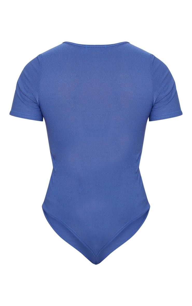 Midnight Blue Crepe Short Sleeve Thong Bodysuit 4