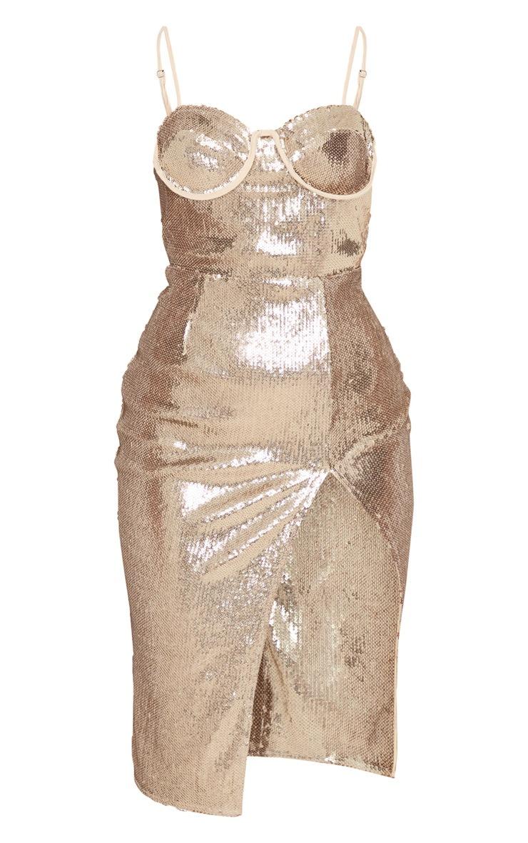 Gold Sequin Corset Detail Strappy Midi Dress 3