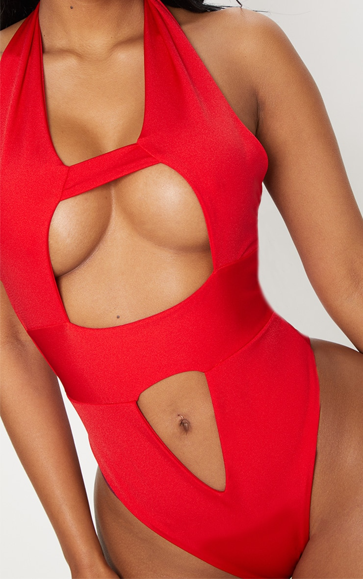 Shape Red Cut Out Front Halterneck Swimsuit 6