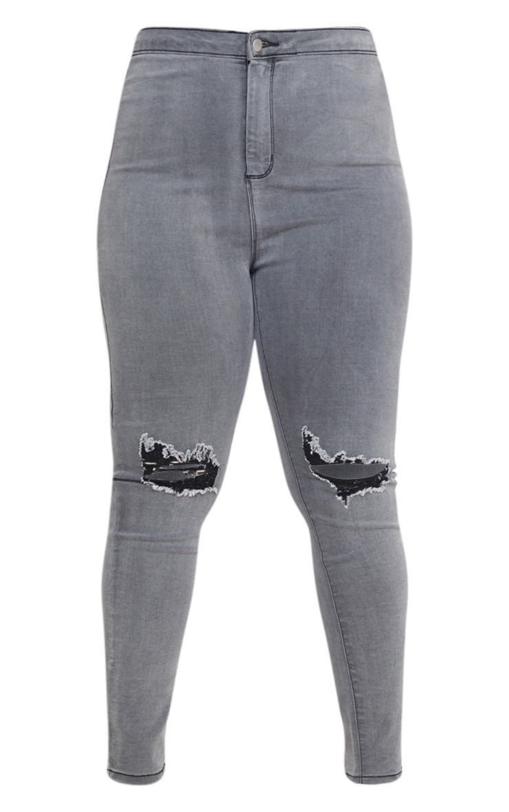 PRETTYLITTLETHING Plus Grey Knee Rip Disco Skinny Jean 3
