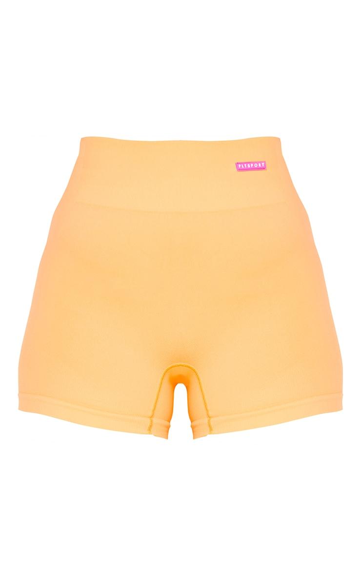 Peach Rubber Badge Basic Seamless Booty Shorts 6