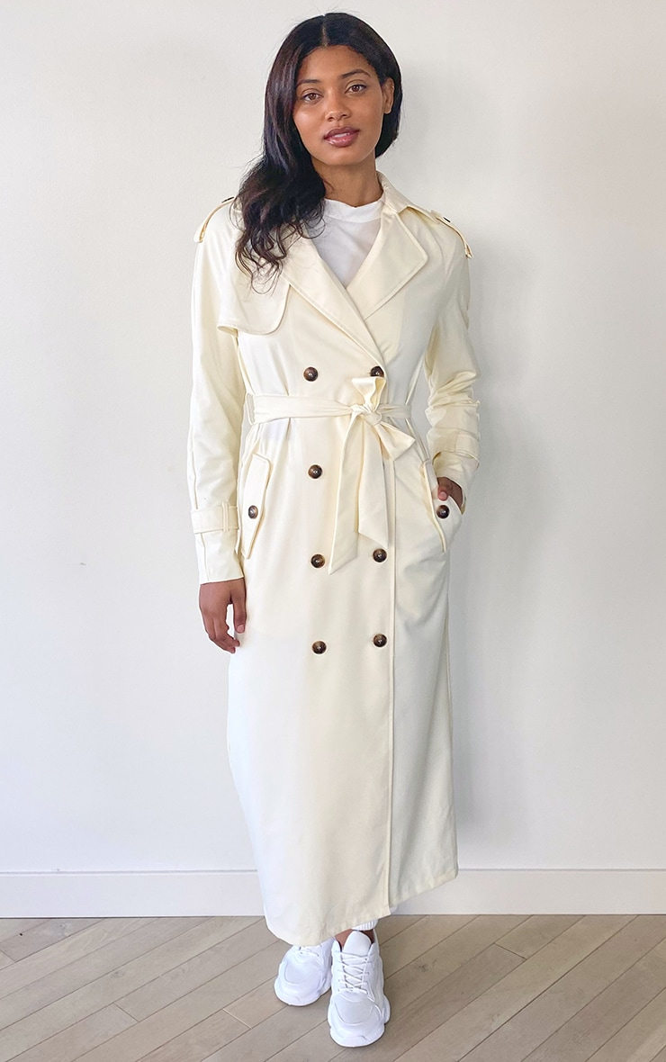 Tall Cream Woven Oversized Trench Jacket 1