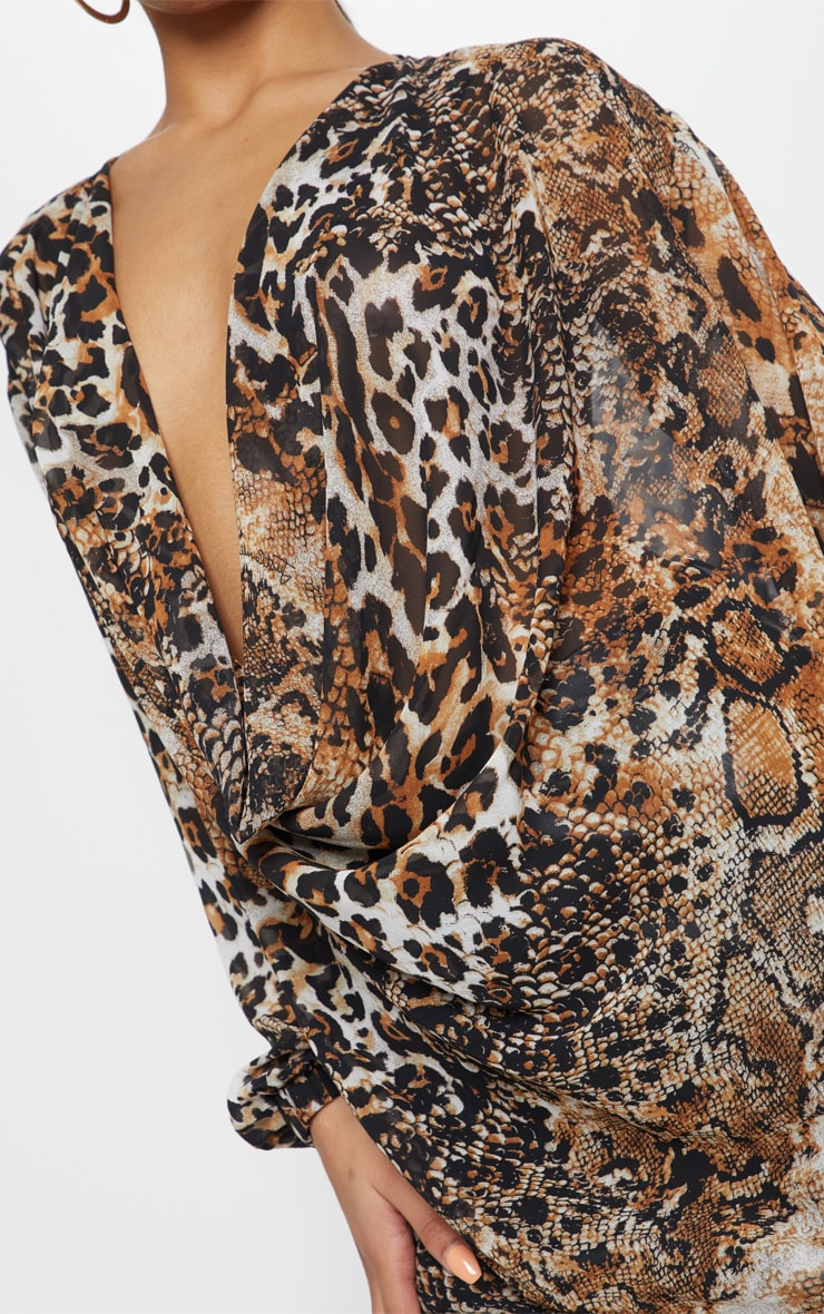 Brown Sheer Snake Print Cowl Neck Blouse 5