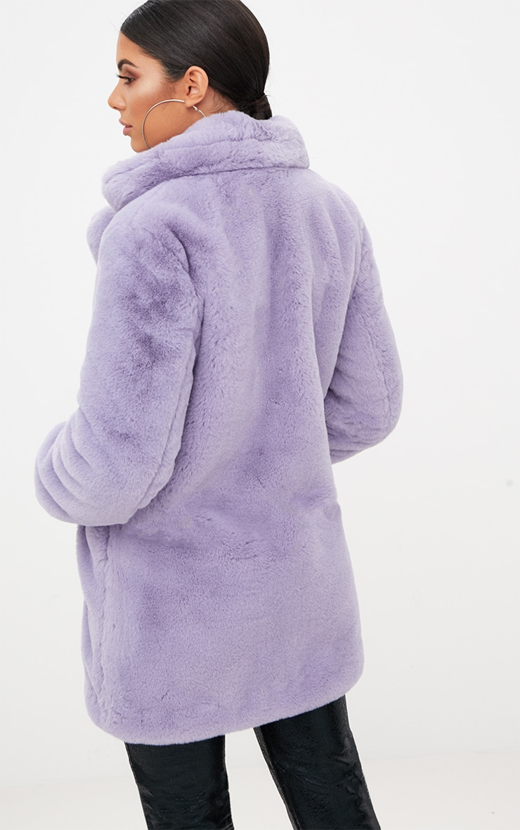Lilac Premium Faux Fur Coat 2