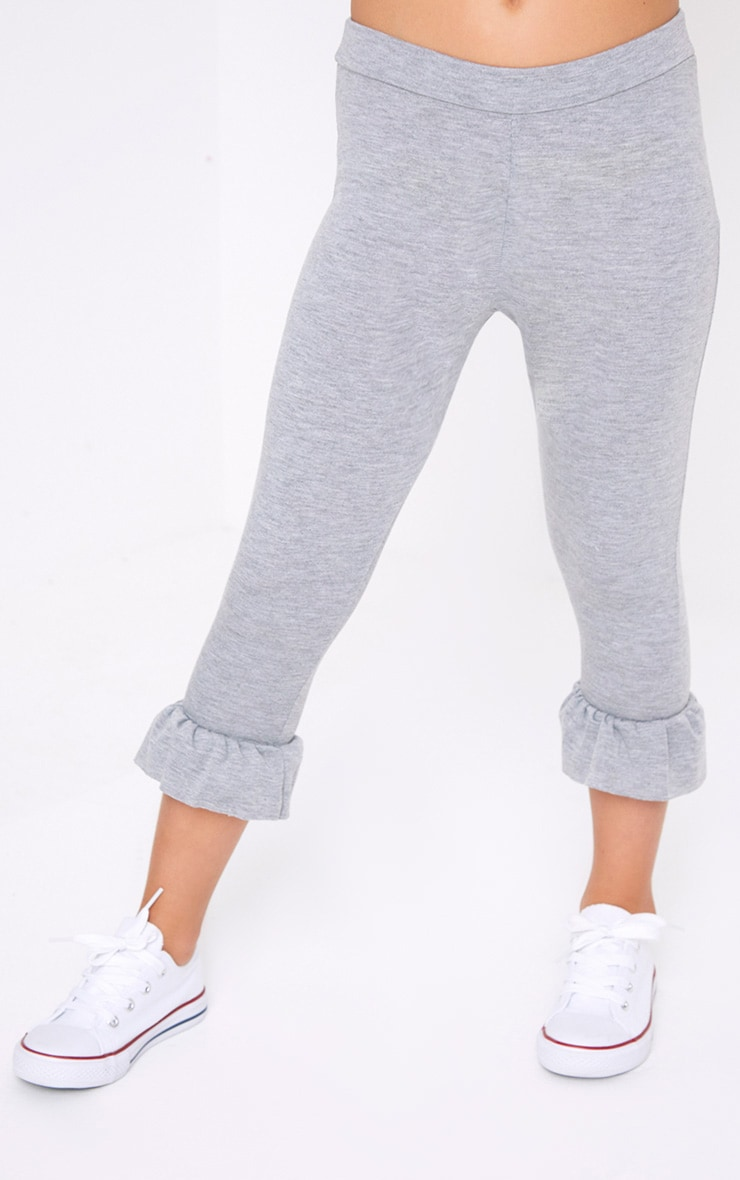 Ruffle Hem Cropped Grey Leggings 2