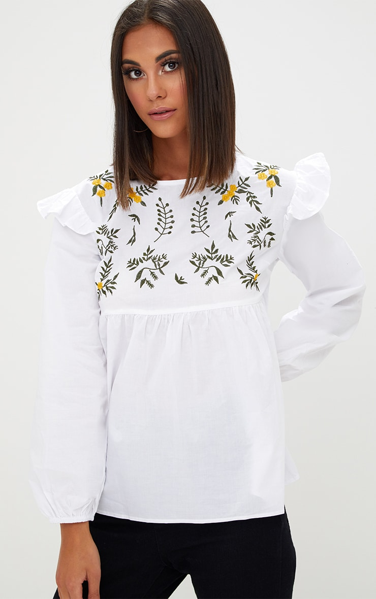 White Embroidered Frill Long Sleeve Shirt  1