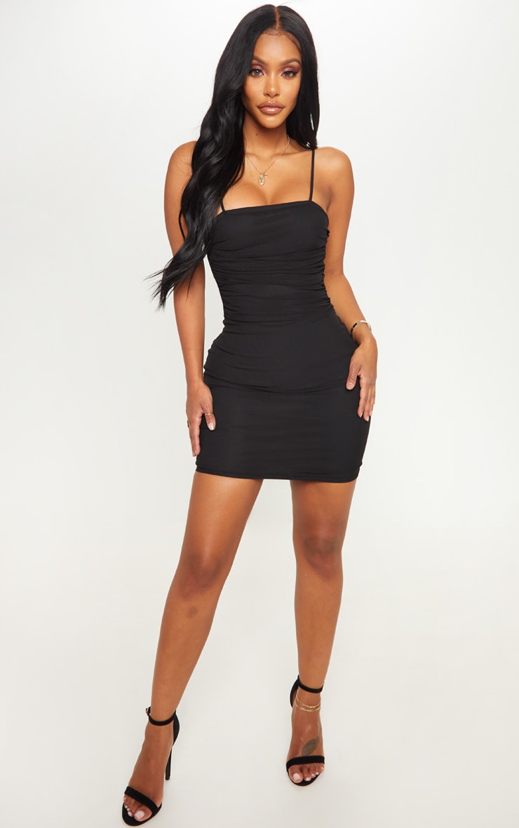 Shape Black Strappy Ruched Mesh Bodycon Dress 4