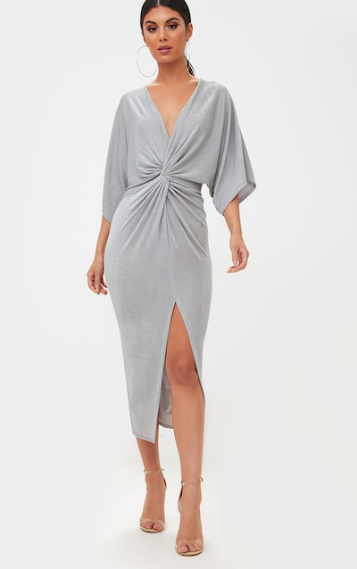 Ice Grey Slinky Twist Front Kimono Sleeve Midi Dress