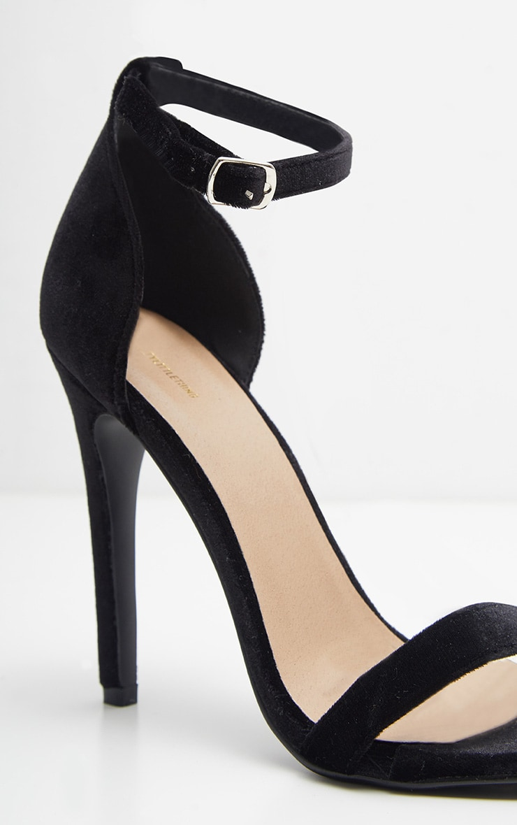 Clover Black Velvet High Heels 4