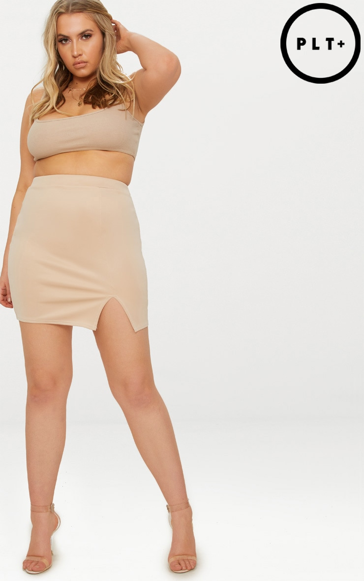 Plus Stone Basic Mini Split Front Skirt 1