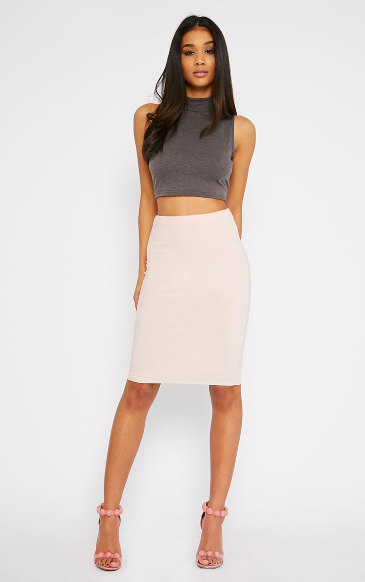 Basic Charcoal Jersey High Neck Crop Top 3