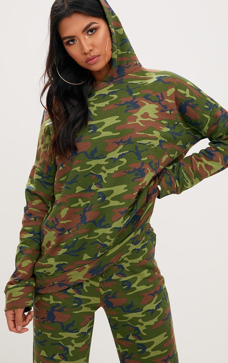 Khaki  Camo Oversized Hoodie  1