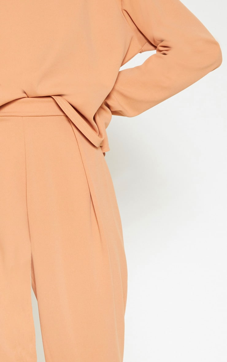 Pale Tan High Waisted Pleat Detail Tapered Trouser 5