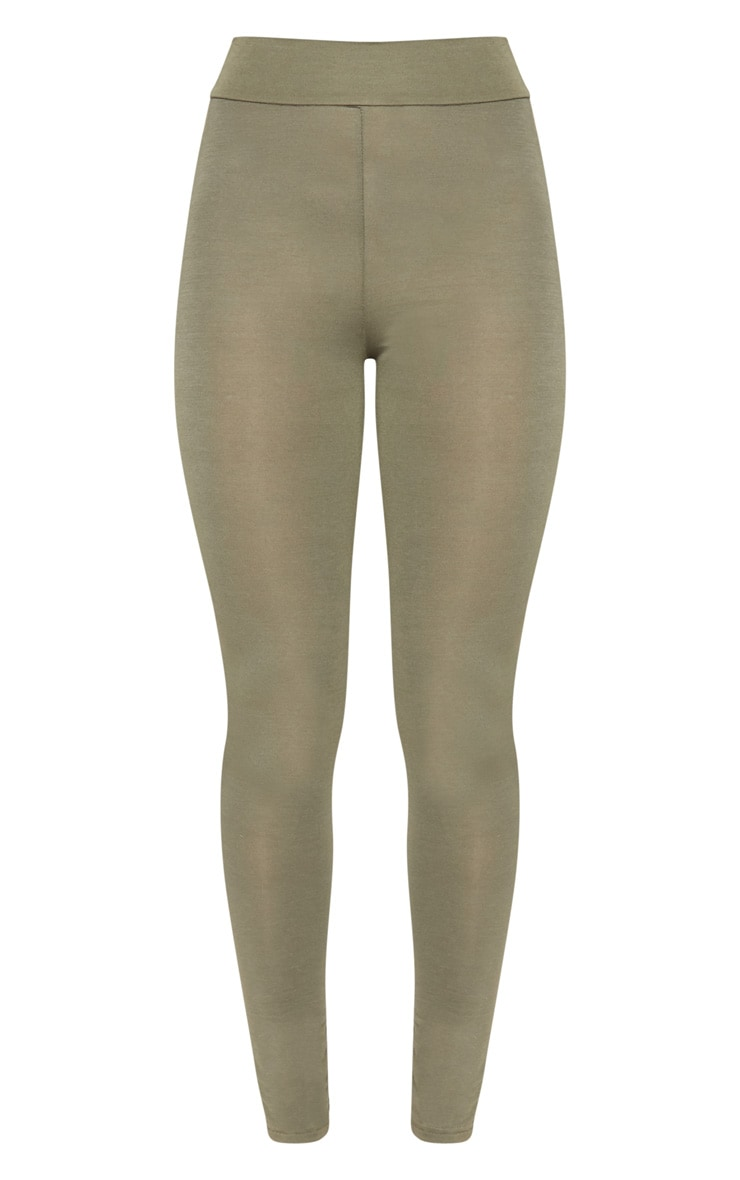 Basic Khaki High Waisted Jersey Legging 3