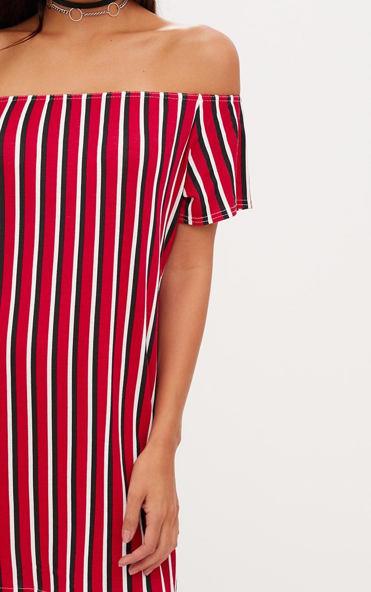 Red Striped Bardot Shift Dress 5