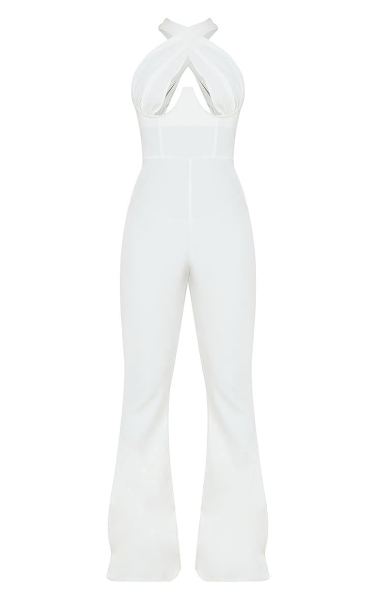 White Cross Bust Underwired Flare Jumpsuit 5