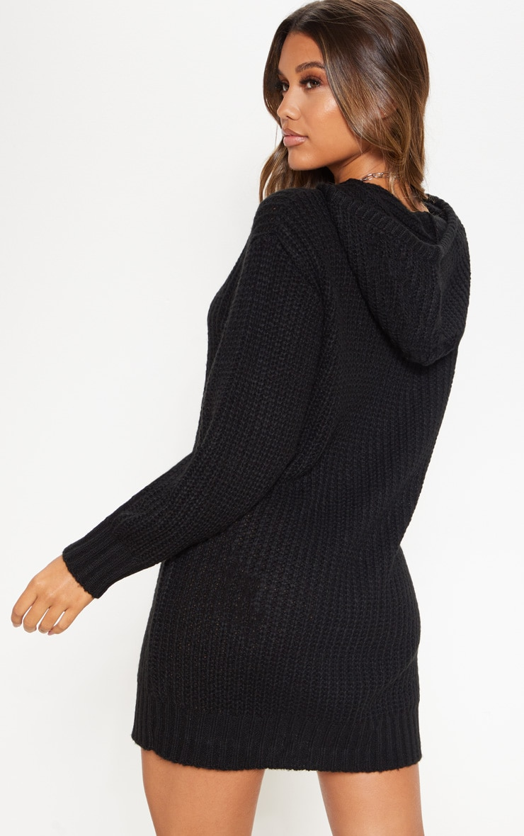 Black Knitted Hooded Sweater Dress 2