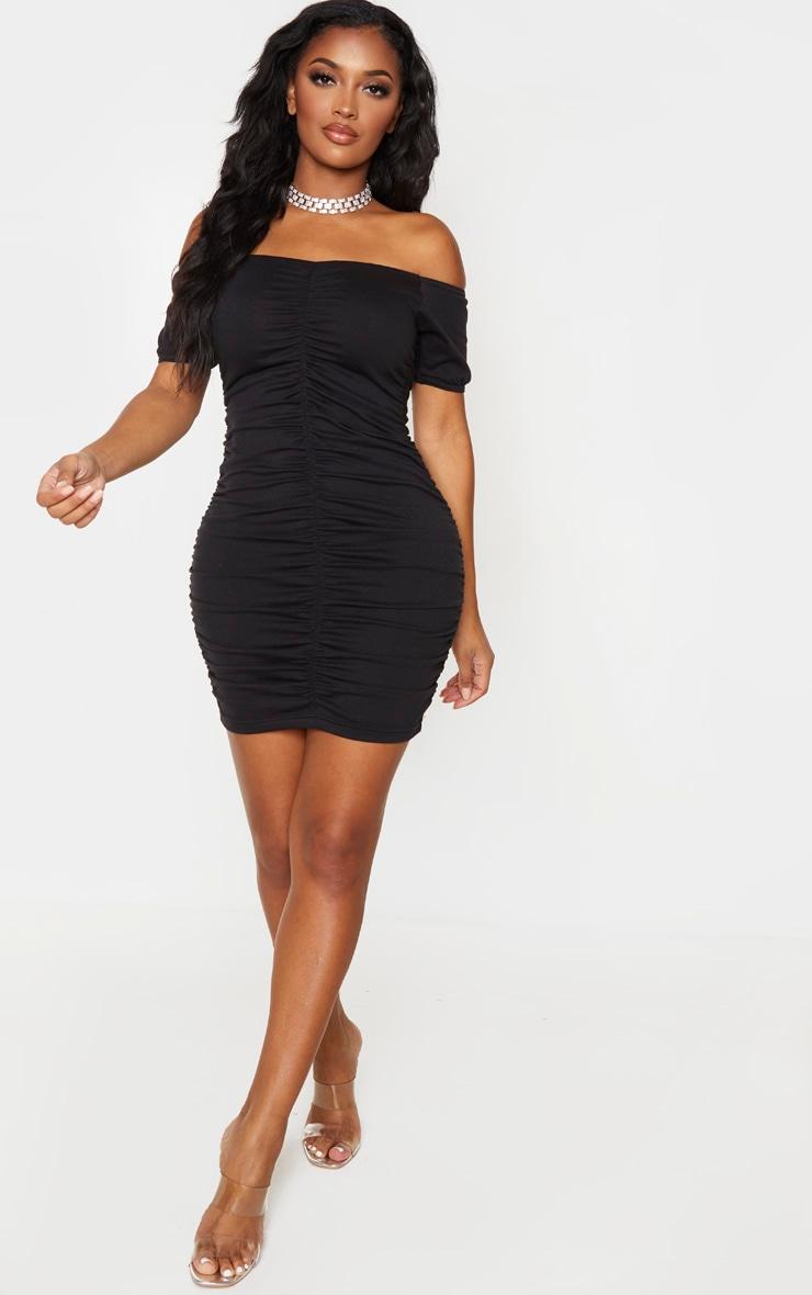Shape Black Bardot Ruched Short Sleeve Bodycon Dress 4