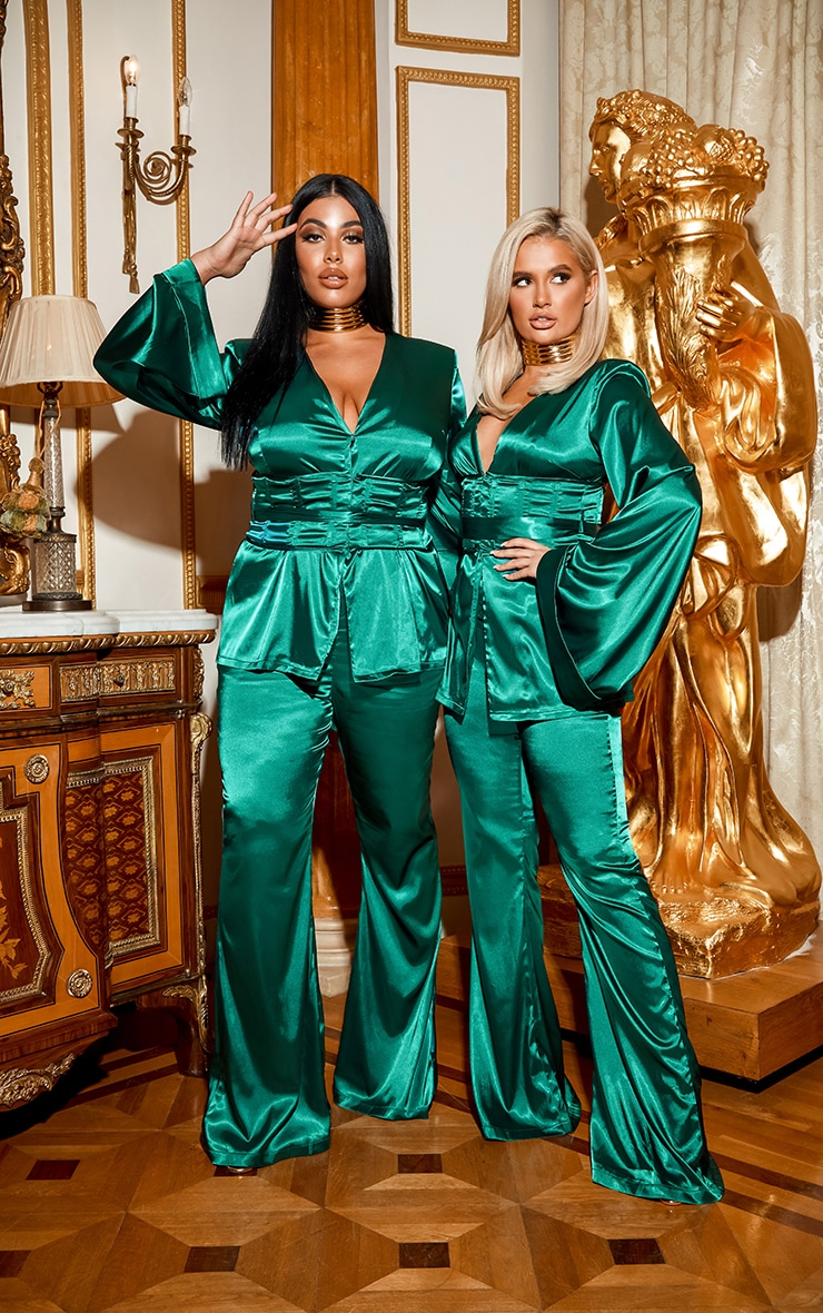 Emerald Green Satin Wide Leg Trouser 1