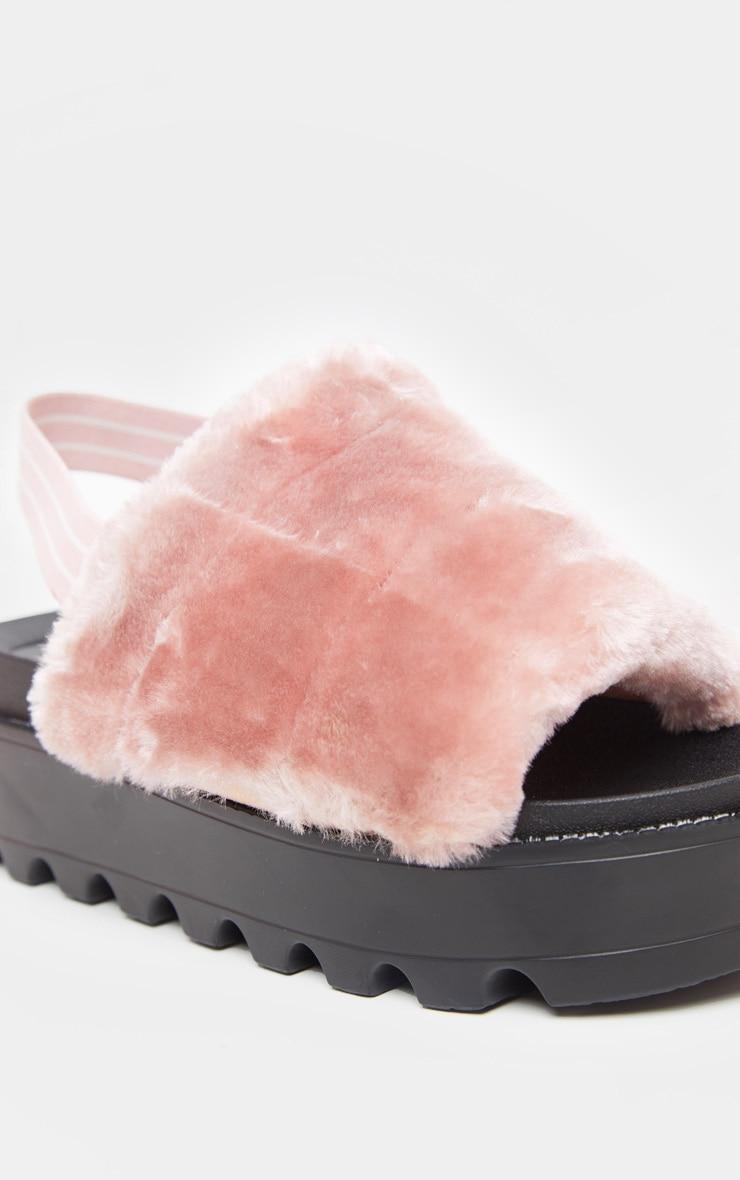 Pink Slingback Faux Fur Flatform Sandal 3