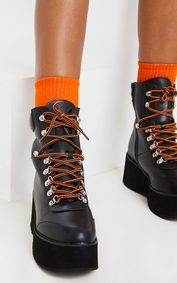 Black Hiker Flatform Lace Up Boot 2