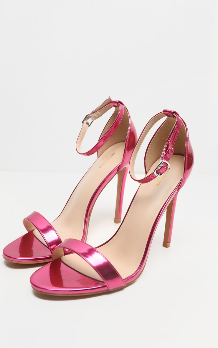Fuchsia Metallic Clover Heeled Sandals 3