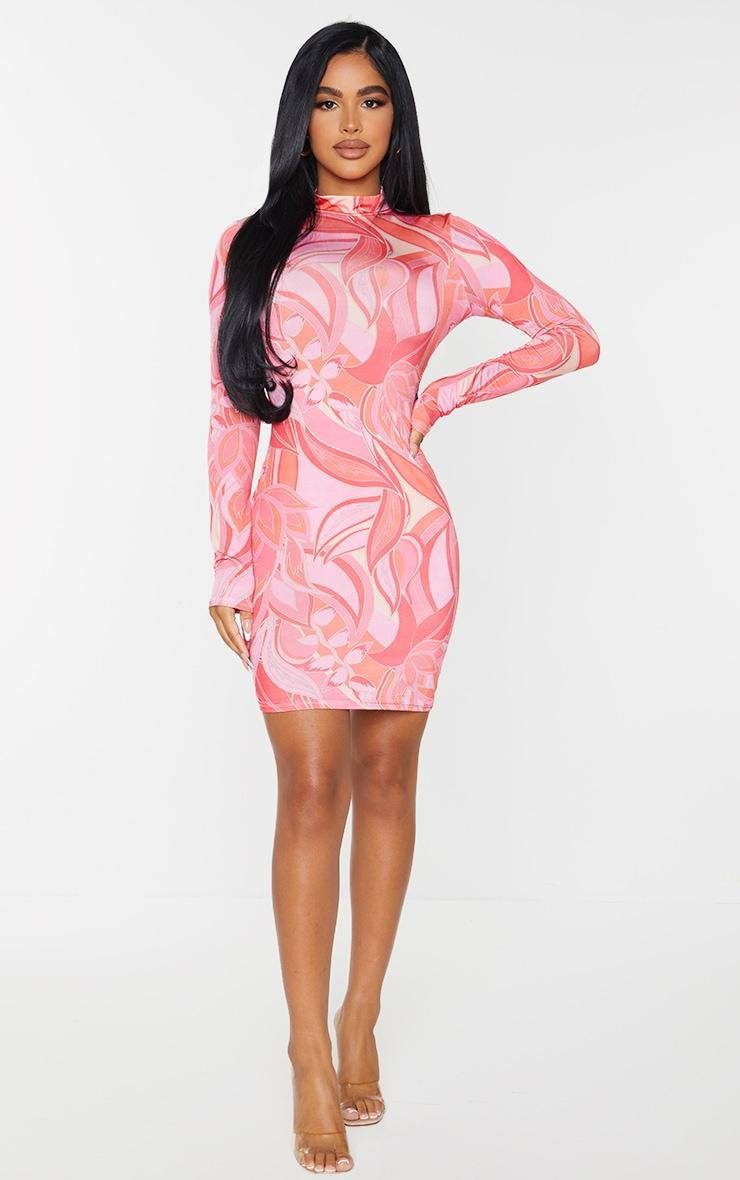 Petite Pink Floral Print Slinky High Neck Long Sleeve Bodycon Dress 3
