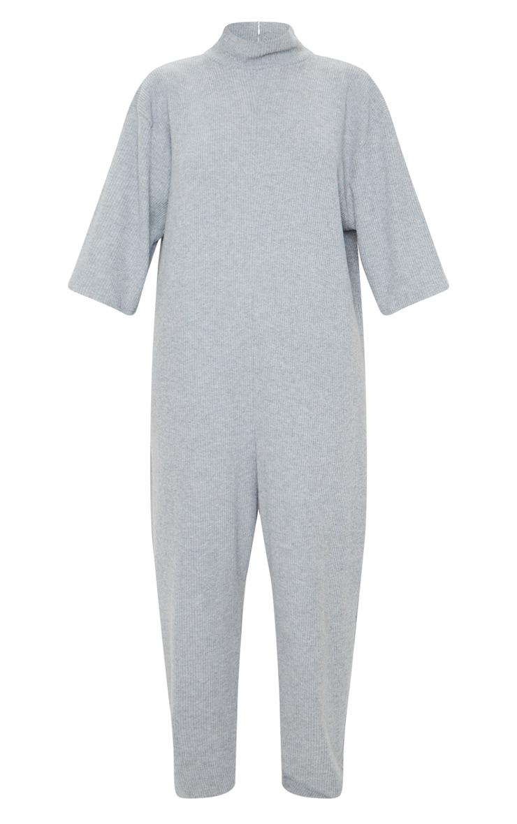 Grey Brushed Rib High Neck Oversized Jumpsuit 5