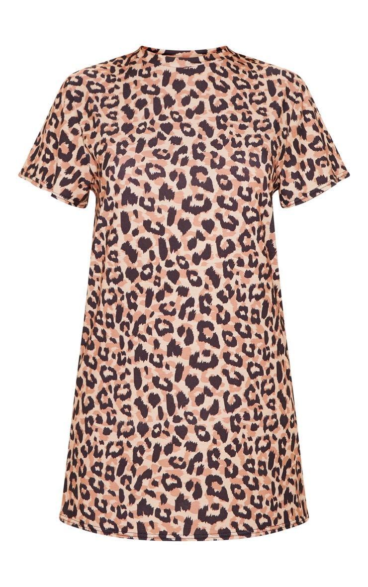 Basic Leopard Short Sleeve T Shirt Dress 3