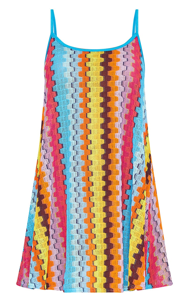 Orange Strappy Printed Knitted Swing Dress 3
