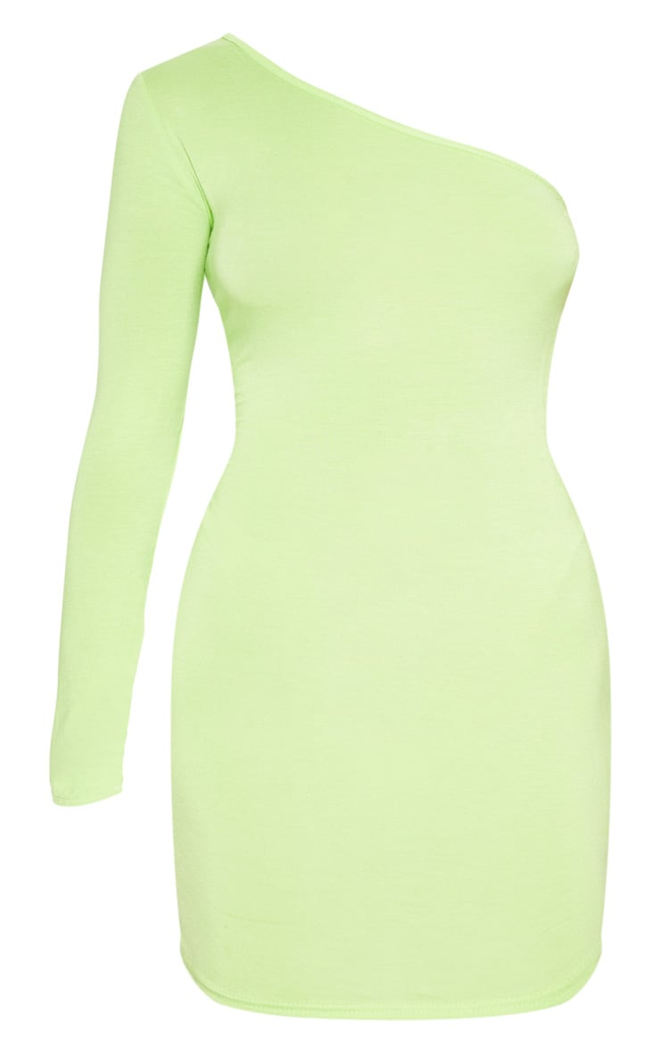 Neon Lime One Shoulder Long Sleeve Bodycon Dress  3
