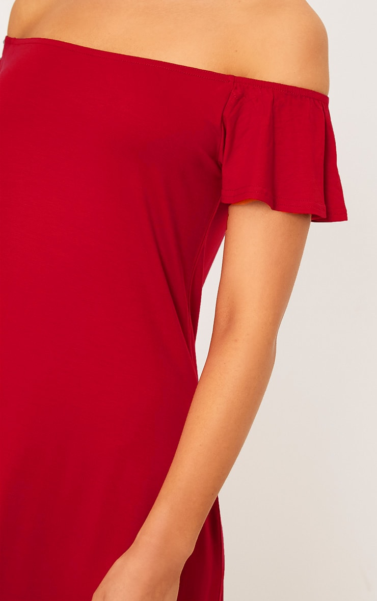 Manina Red Jersey Bardot Swing Dress 5