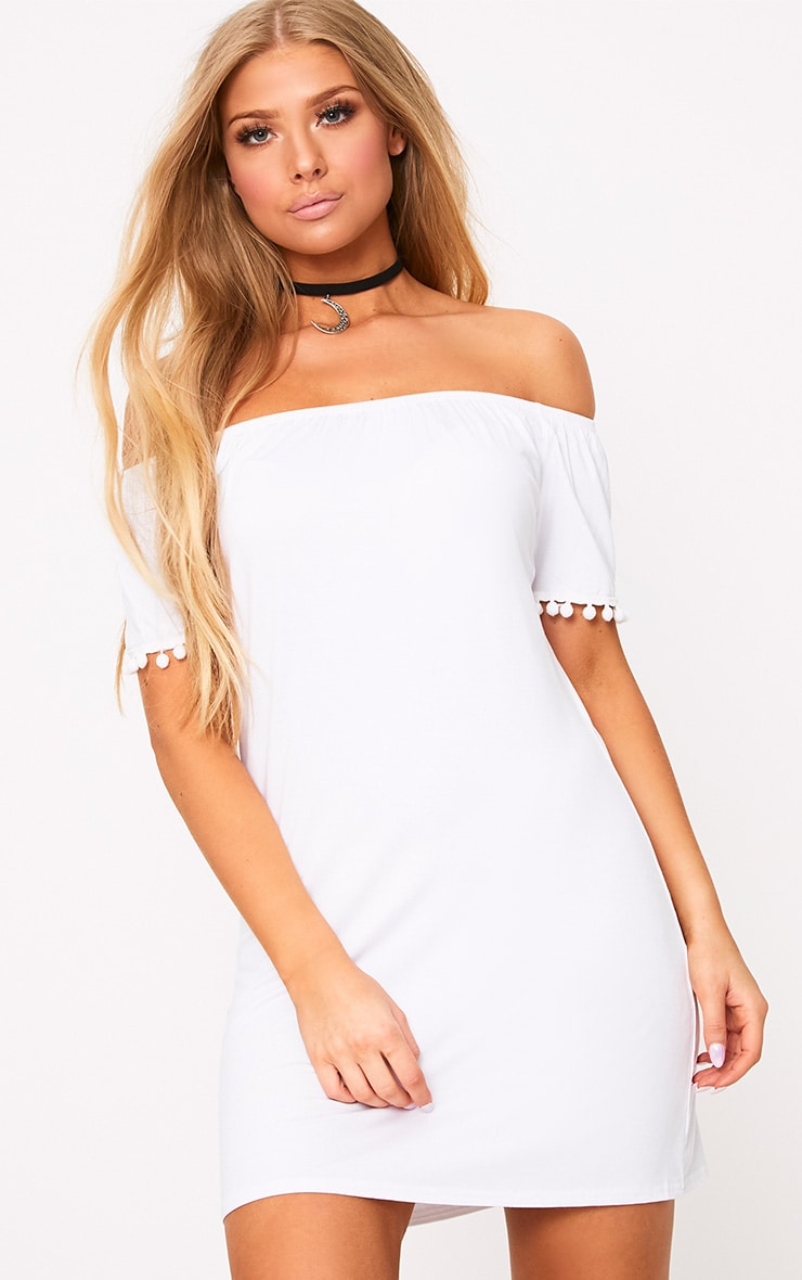 White Pom Pom Bardot Shift Dress 1