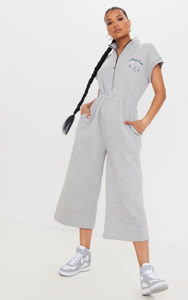 Grey Marl Monte Carlo Zip Sleeveless Sweat Culotte Jumpsuit 1