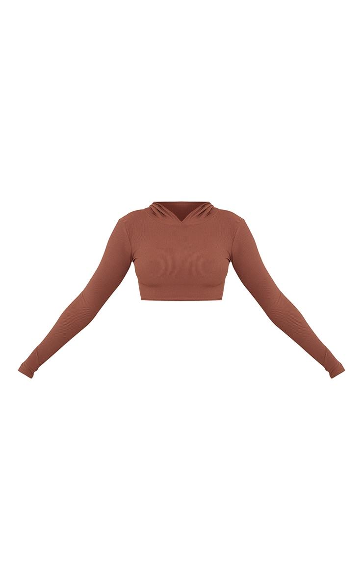 Chocolate Brown Rib Crop Long Sleeved Hoodie 5