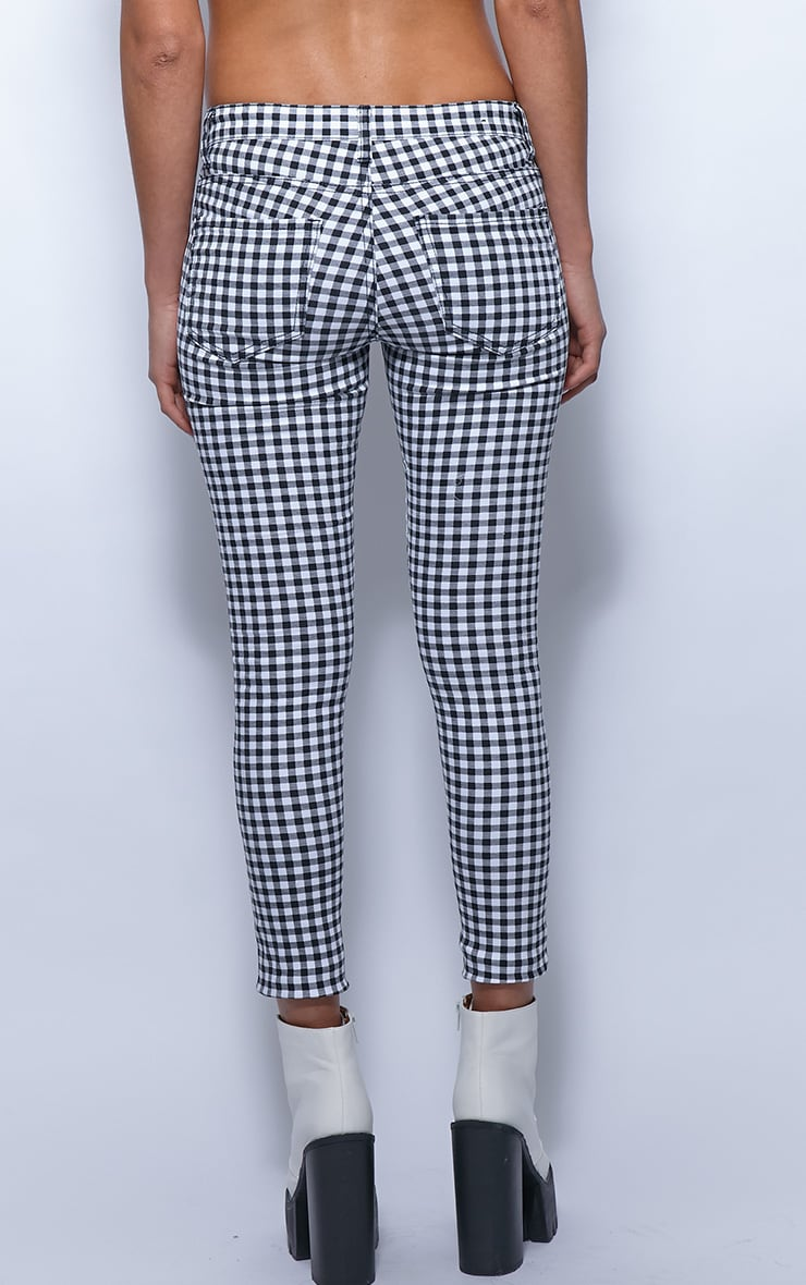 Kimmy Monochrome Checked Ankle Grazer Skinny Jeans 2